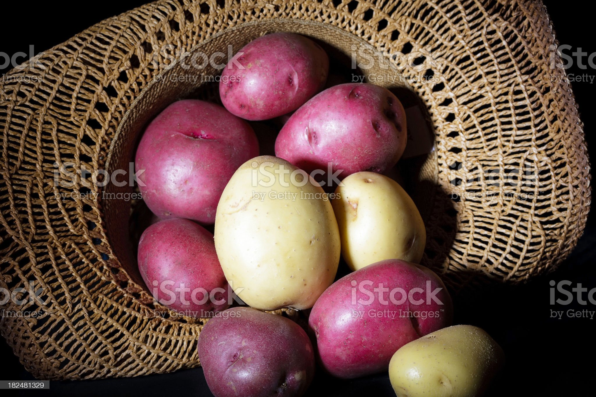 Stack red and white Potatoes cowboy hat royalty-free stock photo