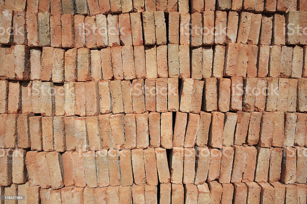 Stack red bricks royalty-free stock photo
