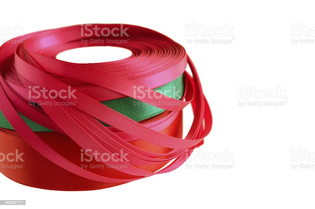Stack ribbon roll on white royalty-free stock photo