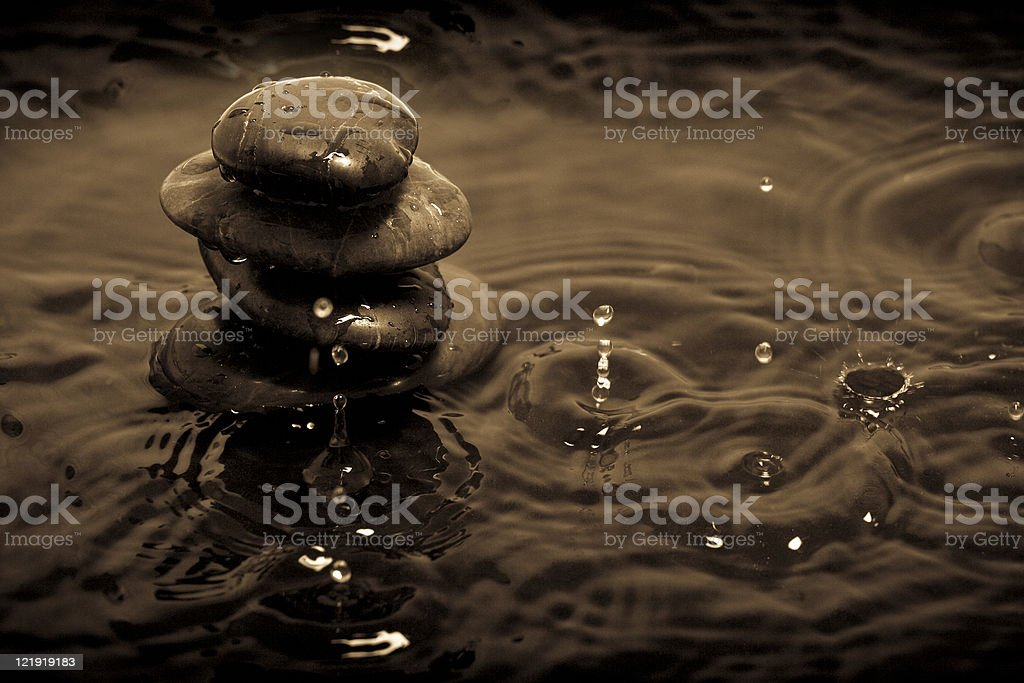 Stack rock in rain royalty-free stock photo