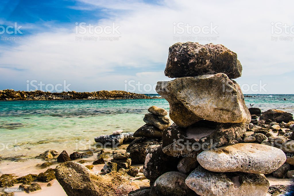 Stack rocks on beach stock photo