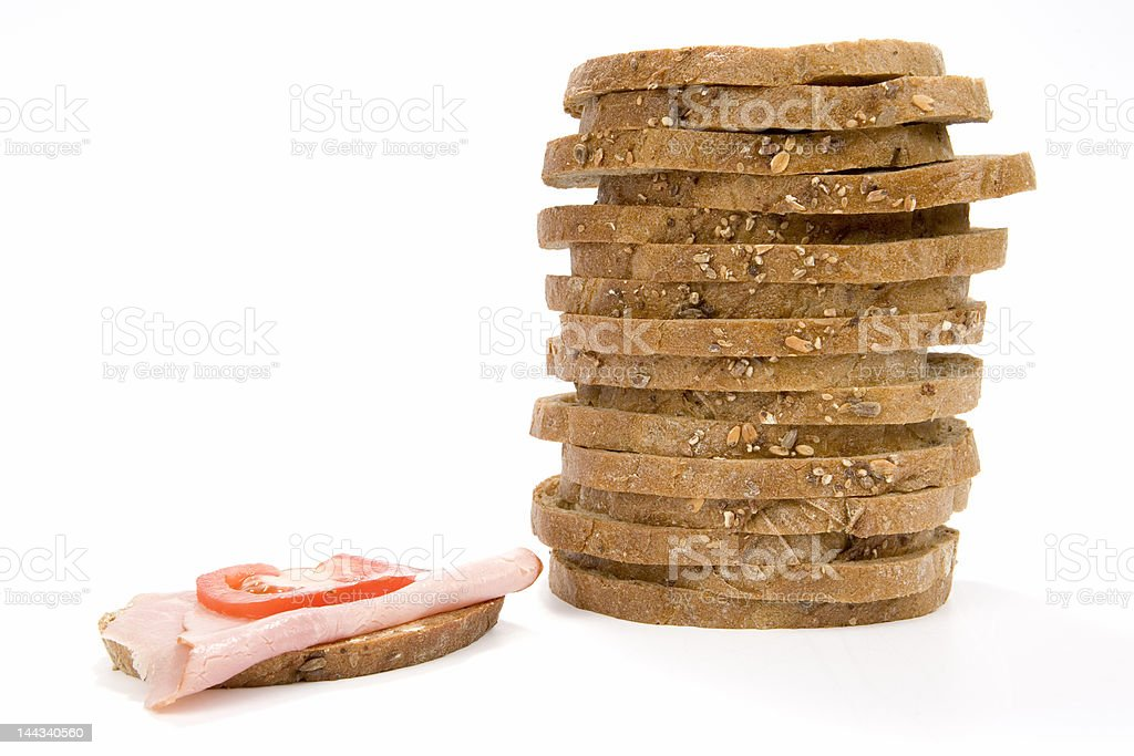 Stack slices of bread and sandwich royalty-free stock photo