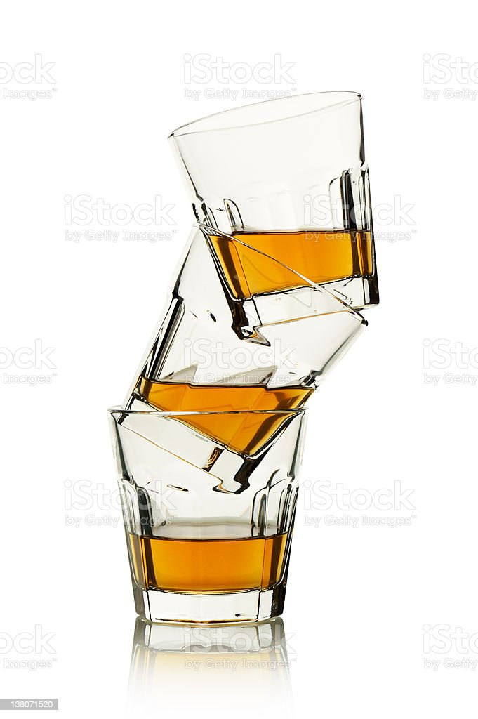 Stack with 3 glasses of whisky royalty-free stock photo