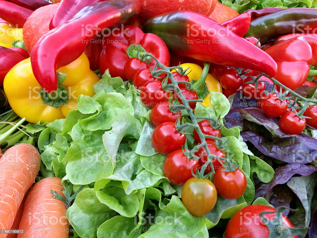 stack with colorful autumn vegetables - thanksgiving stock photo