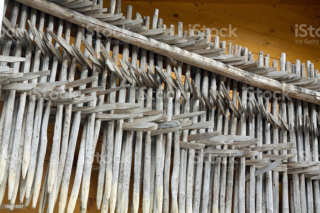 Stacked and arranged Heureiter (Heinzen) for drying hay royalty-free stock photo