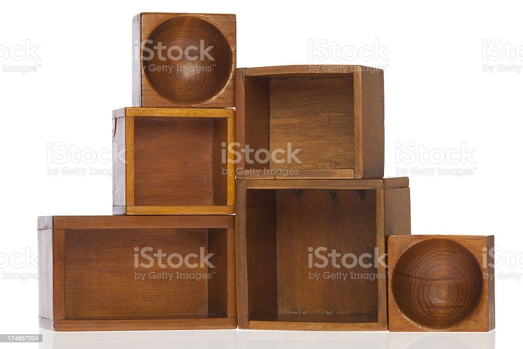 Stacked Antique Wooden Boxes Isolated on White royalty-free stock photo