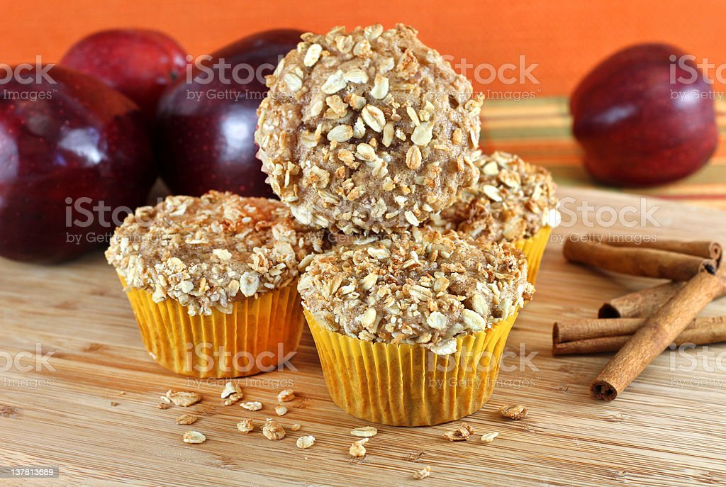 Stacked Apple Bran and Granola Muffins with selective focus stock photo