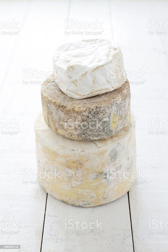 stacked artisan cheese stock photo
