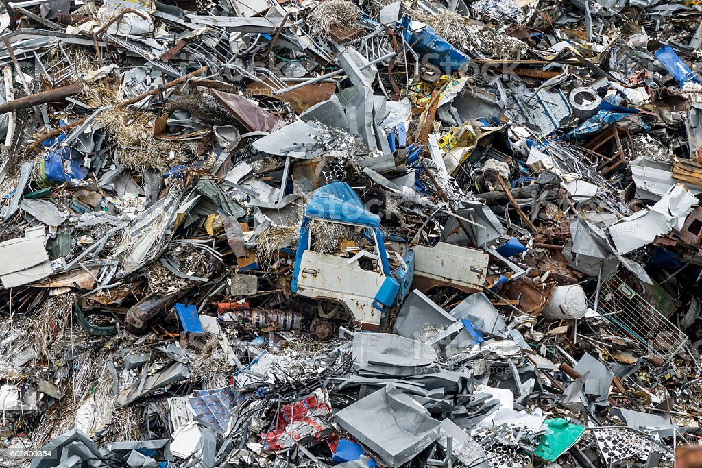 Stacked automobile industrial area. Dumping ground. Scrap metal heap. stock photo