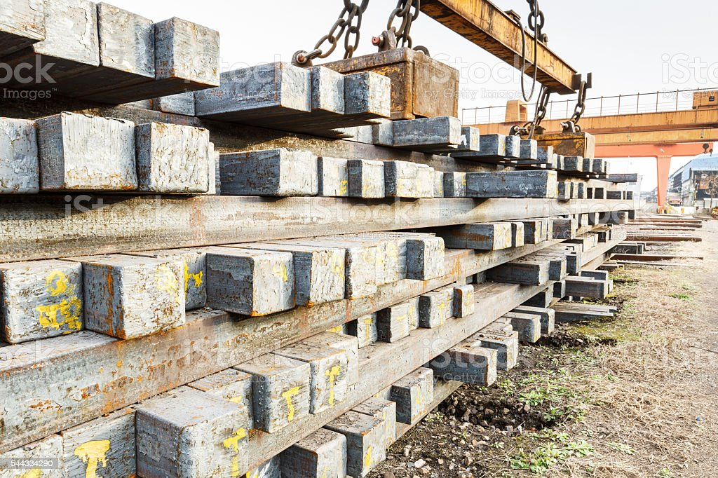 Stacked billet steel plant in China stock photo