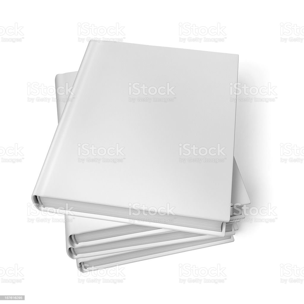 Stacked Blank Books Isolated On White Background royalty-free stock photo