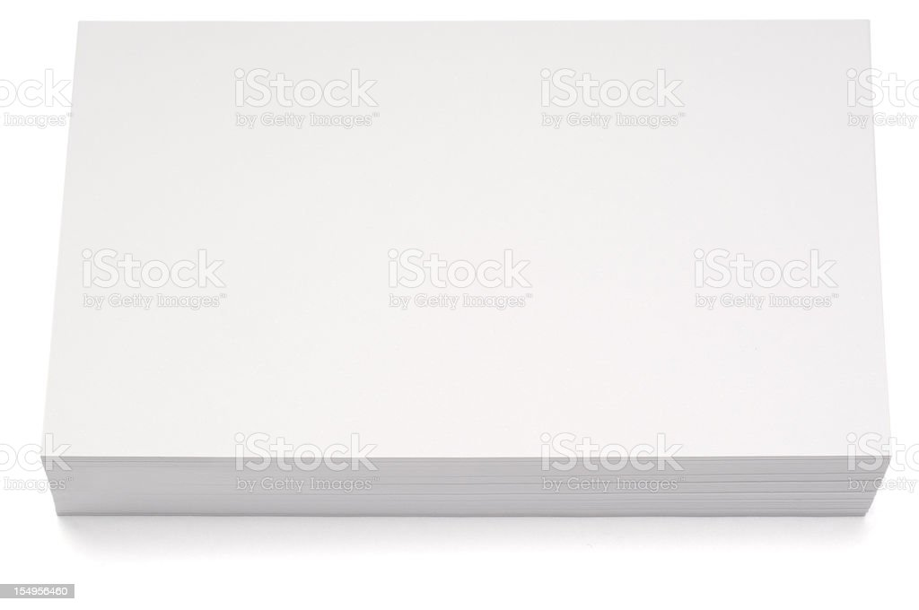 Stacked blank index card isolated on white stock photo