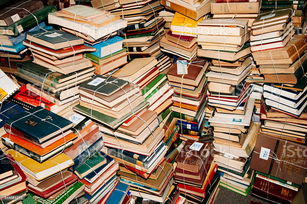 stacked books stock photo