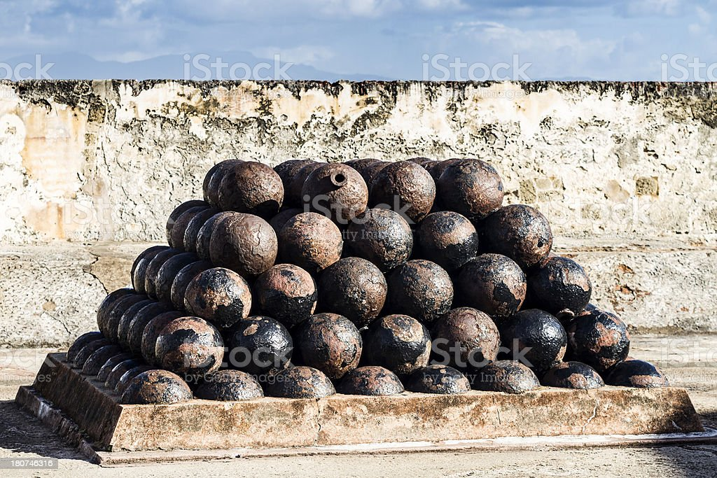 Stacked Cannonballs stock photo