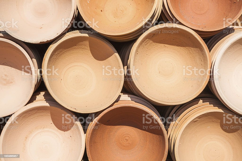 stacked clay bowl stock photo