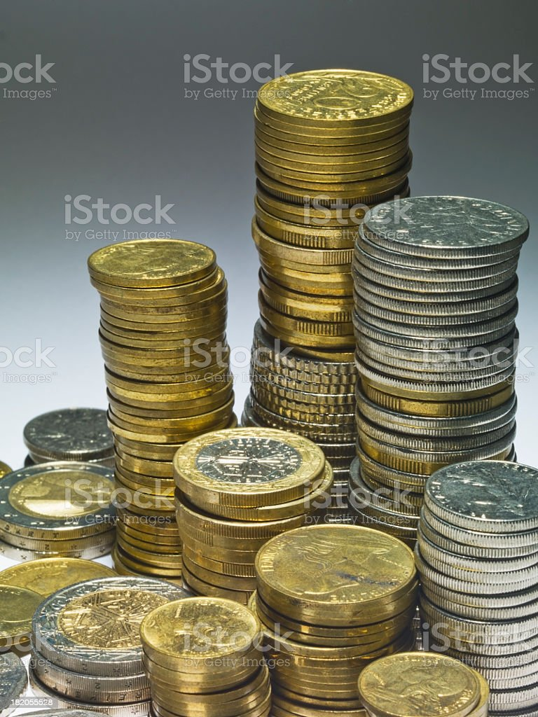 Stacked coins stock photo