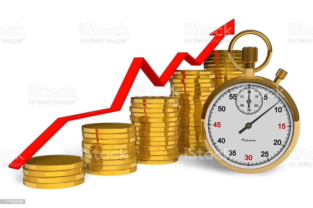 Stacked coins with stopwatch. Time is money royalty-free stock photo