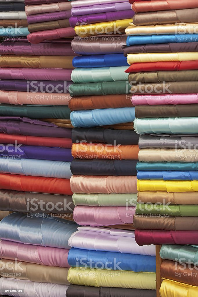 stacked colorful fabrics royalty-free stock photo