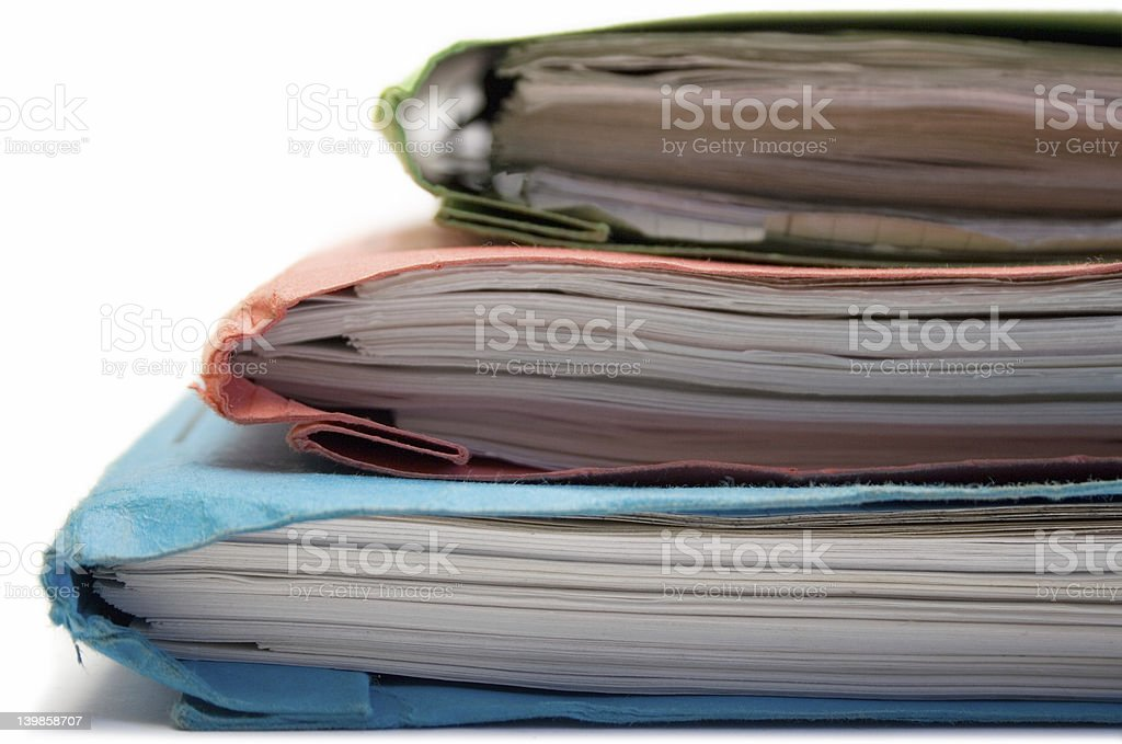 Stacked Colorful Folders (Side View) royalty-free stock photo