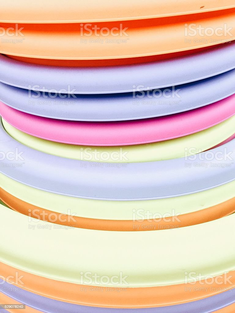 Stacked colorful plastic basins for laudry stock photo