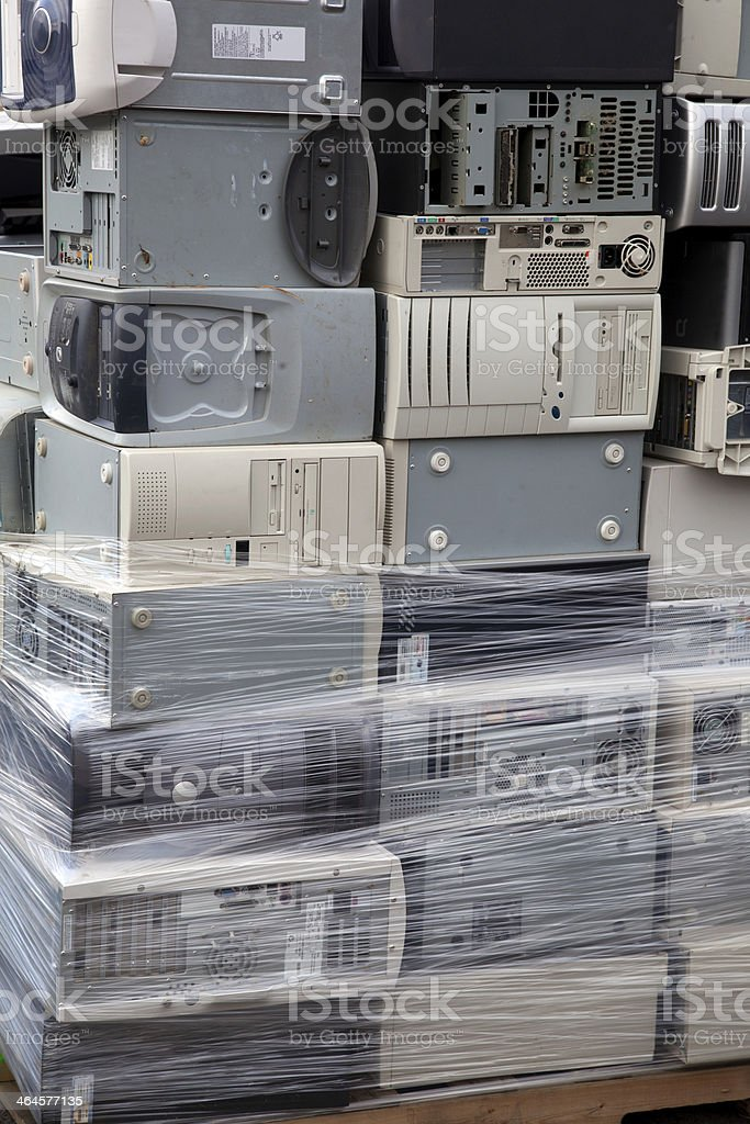 Stacked computers stock photo
