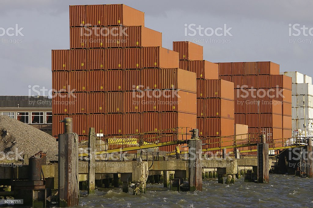 Stacked Containers in Port royalty-free stock photo