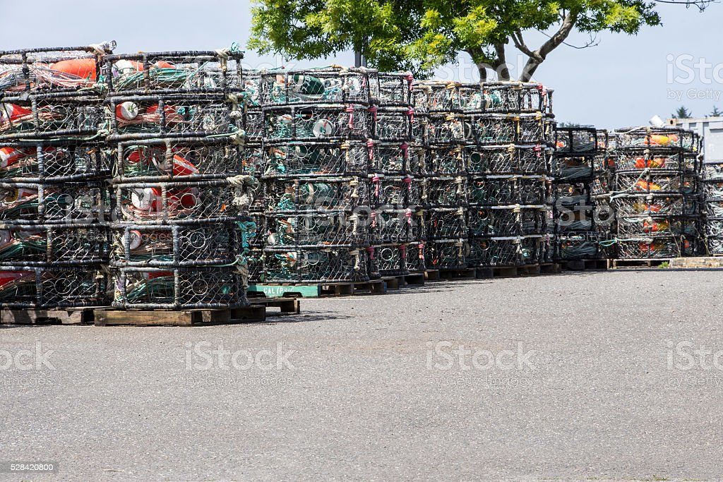 Stacked crab pots stock photo