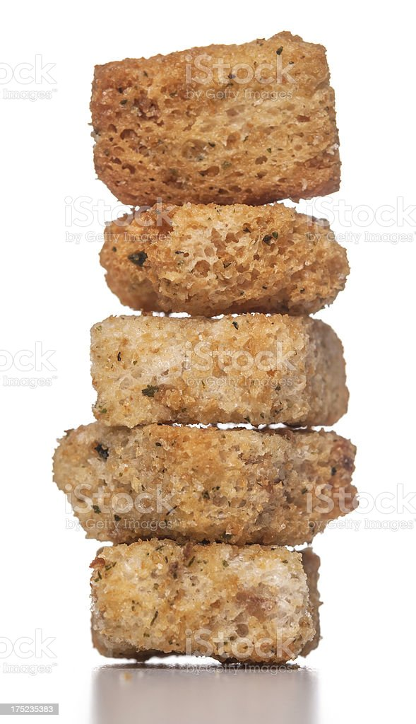 stacked croutons stock photo