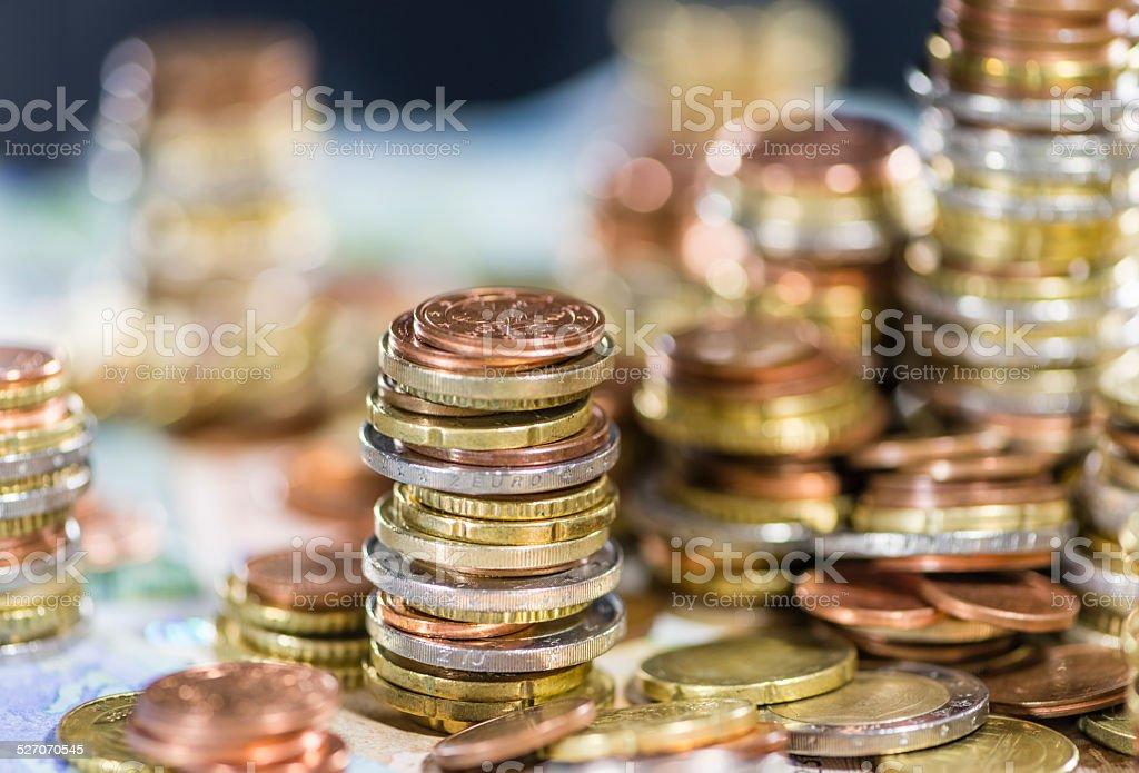 Stacked Euro Coins stock photo