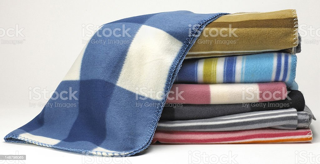 stacked feelce blankets stock photo
