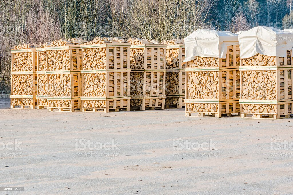 Stacked fire wood stock photo