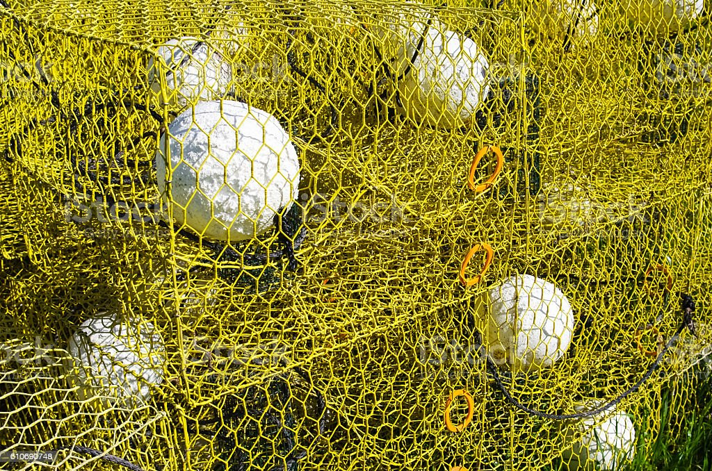 Stacked fishing traps stock photo