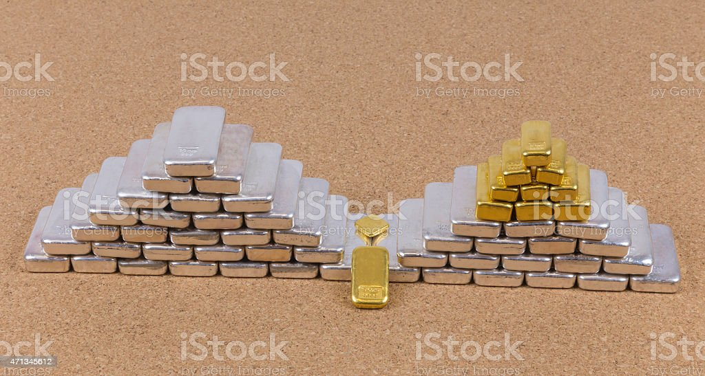 Stacked Gold and Silver Bars Isolated in Studio stock photo