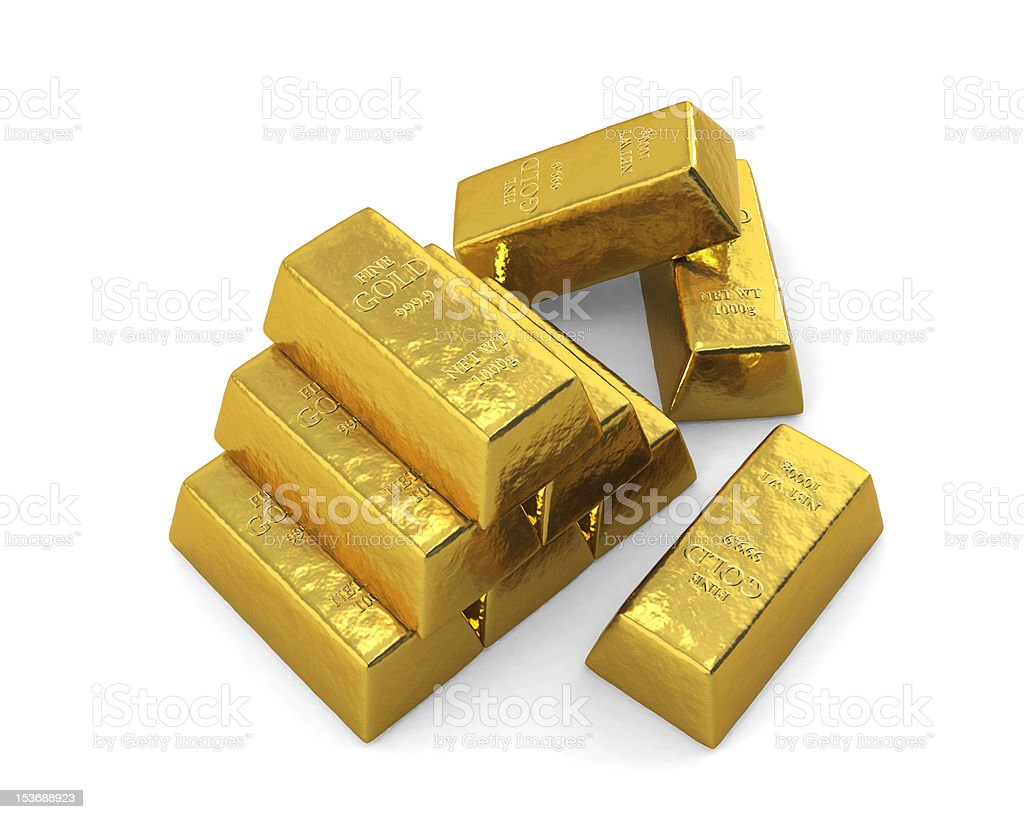 Stacked Gold bars, Top. royalty-free stock vector art