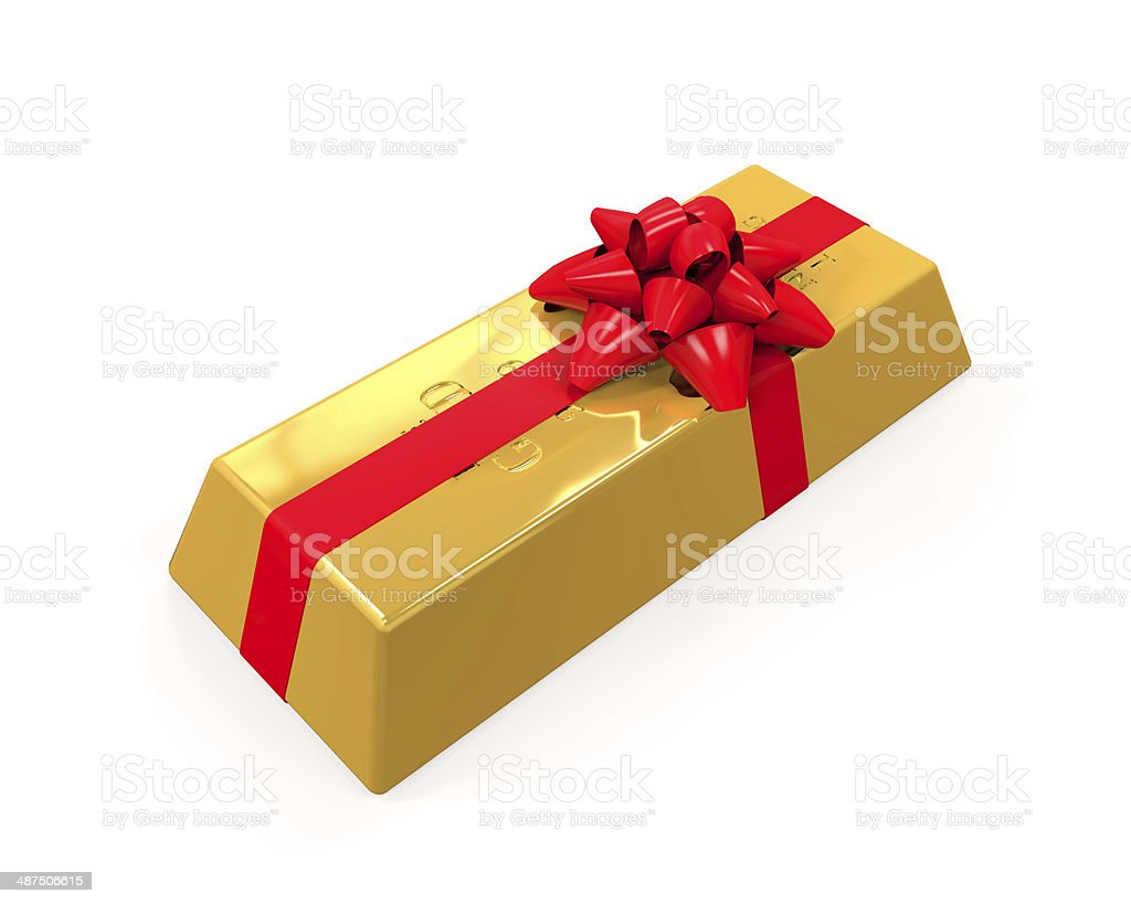 Stacked Gold Bars with Red Ribbon stock photo