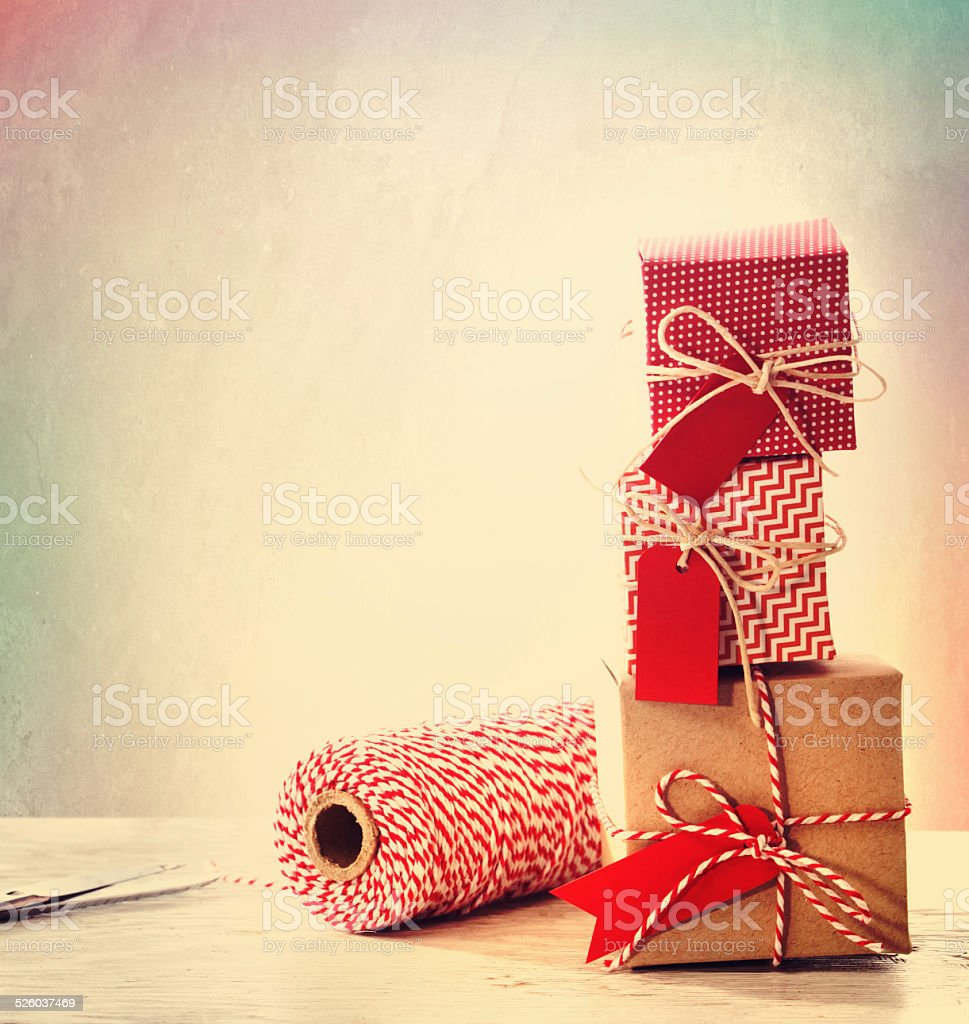 Stacked handmade present boxes stock photo