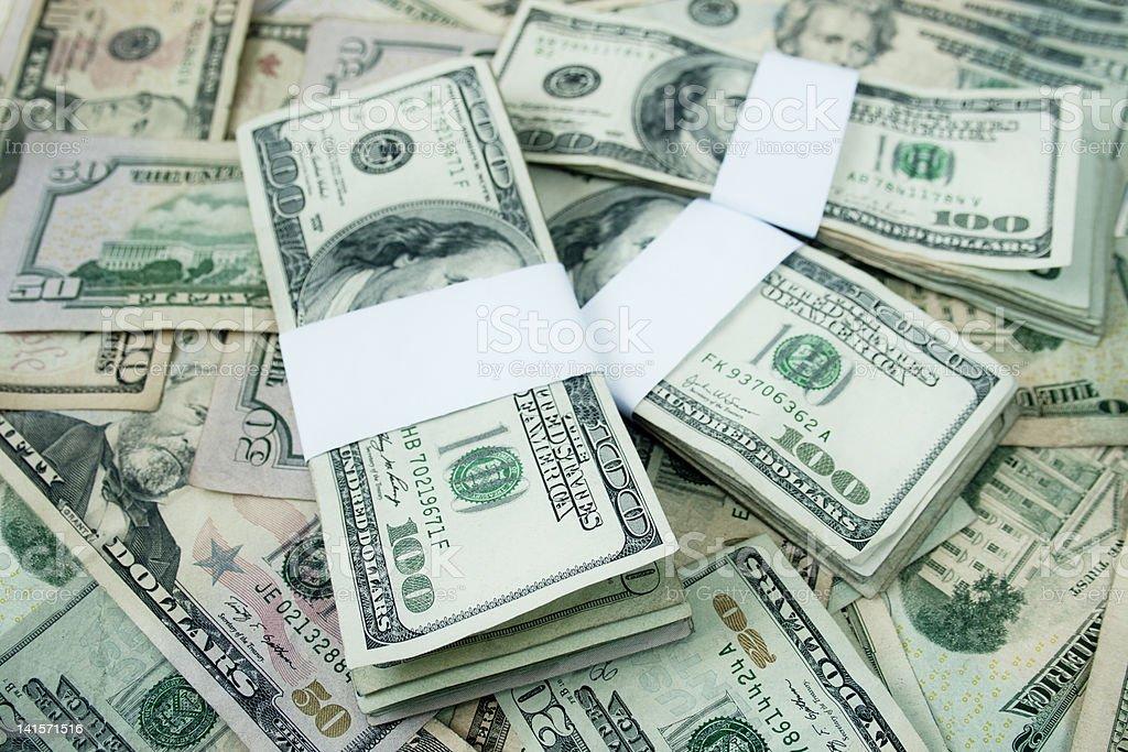 stacked Hundred dollar bills royalty-free stock photo