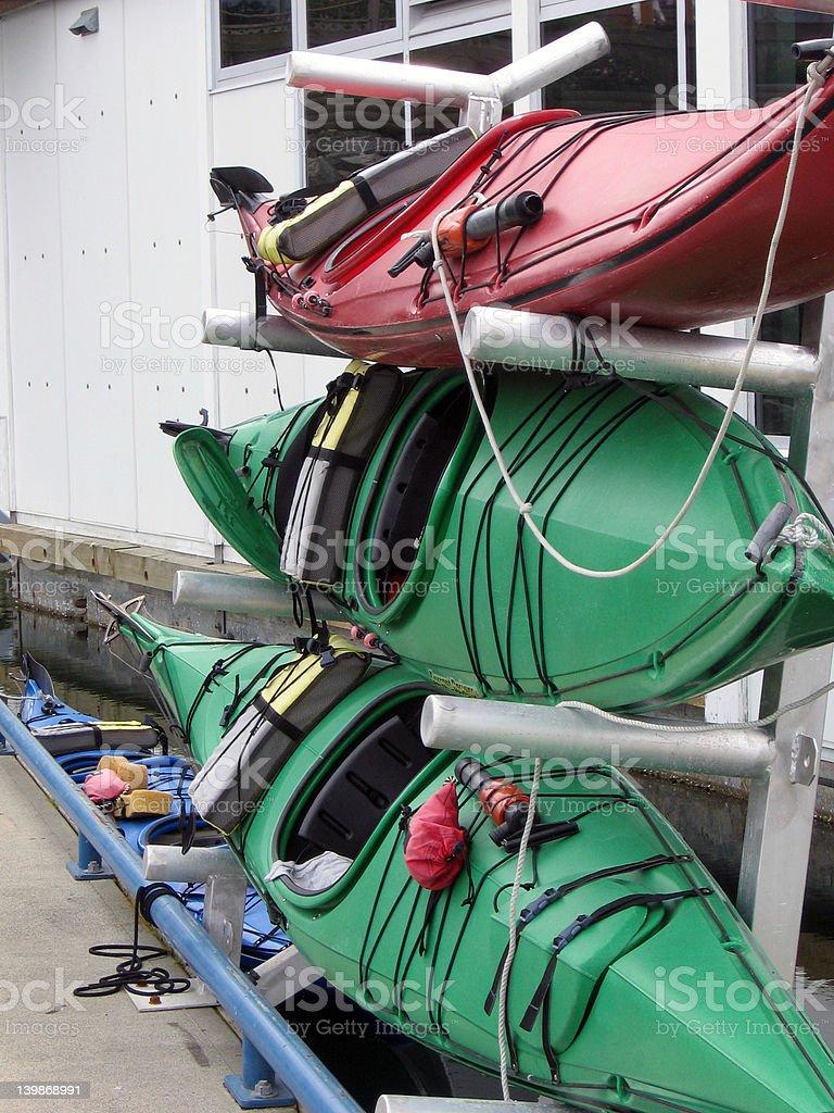 Stacked Kayaks royalty-free stock photo