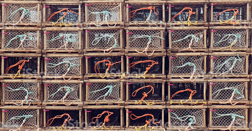 Stacked lobster traps. stock photo