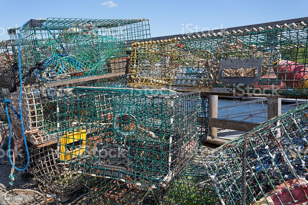 Stacked lobster traps stock photo