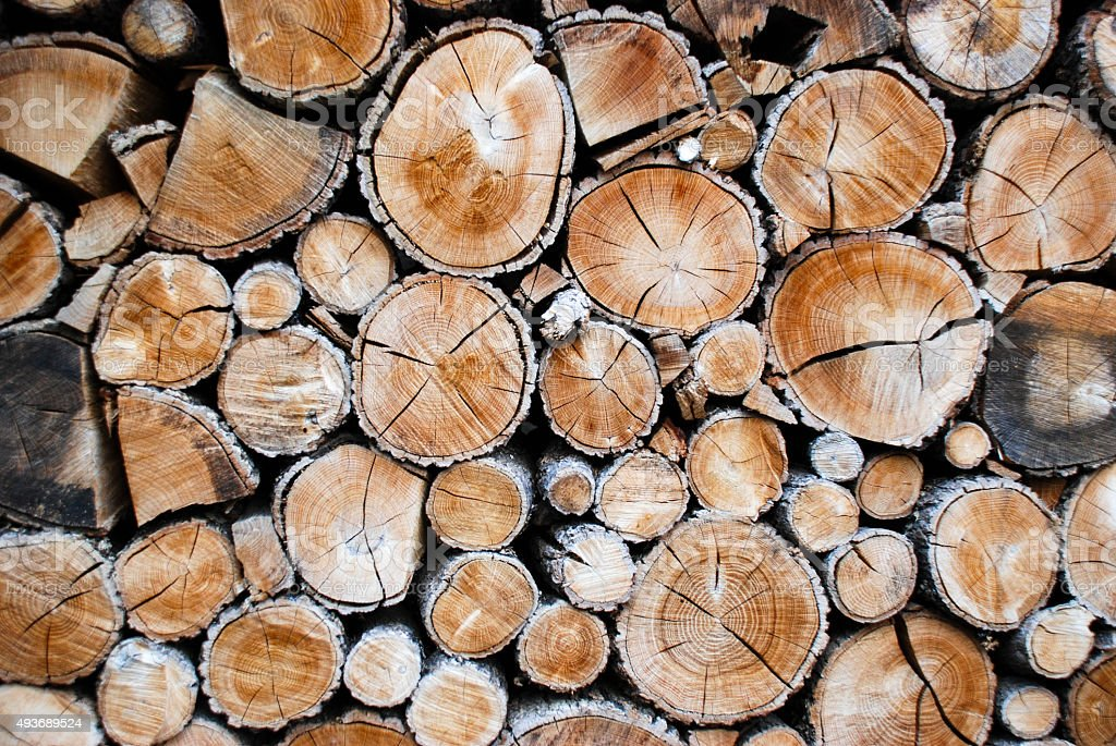 Stacked logs for use as firewood. stock photo