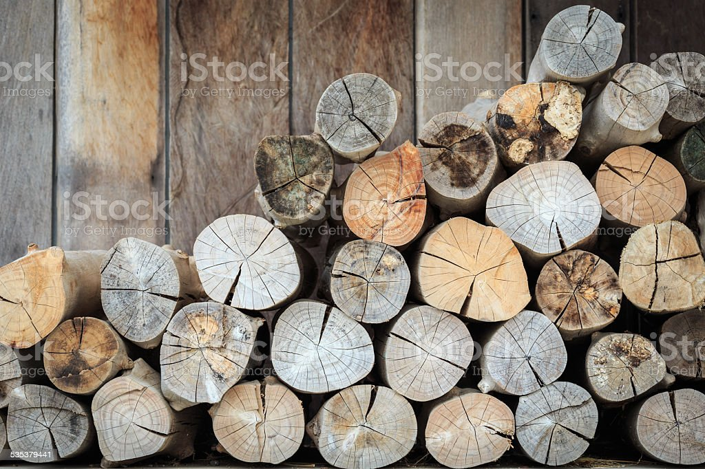 Stacked Logs Texture, Natural Background stock photo