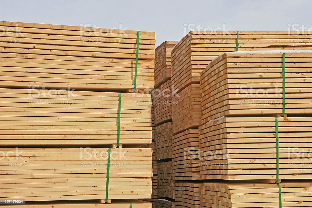 Stacked Lumber at the Mill royalty-free stock photo
