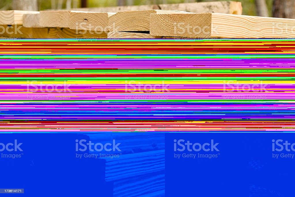 Stacked Lumber, timber at the construction building site royalty-free stock photo