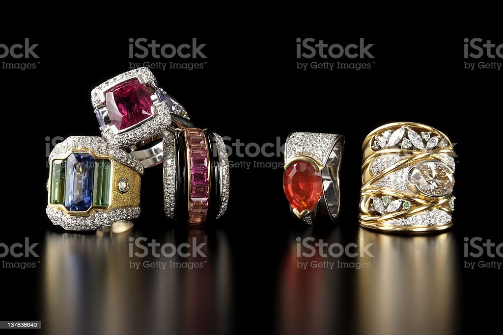 Stacked luxury ring on black background with copy space stock photo