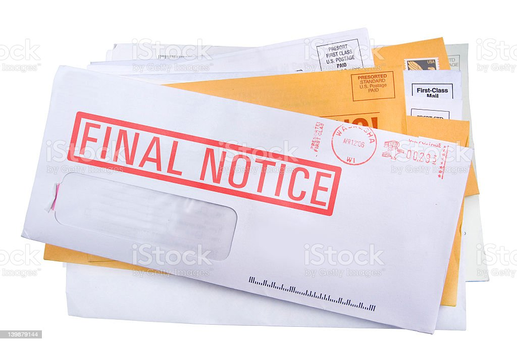 Stacked mail giving final notice on white background stock photo