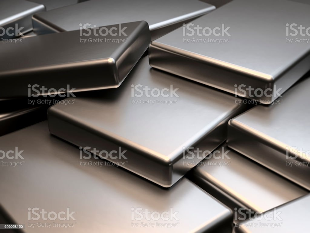 Stacked metal plates of neodymium rare earth magnets 3D Rendering stock photo