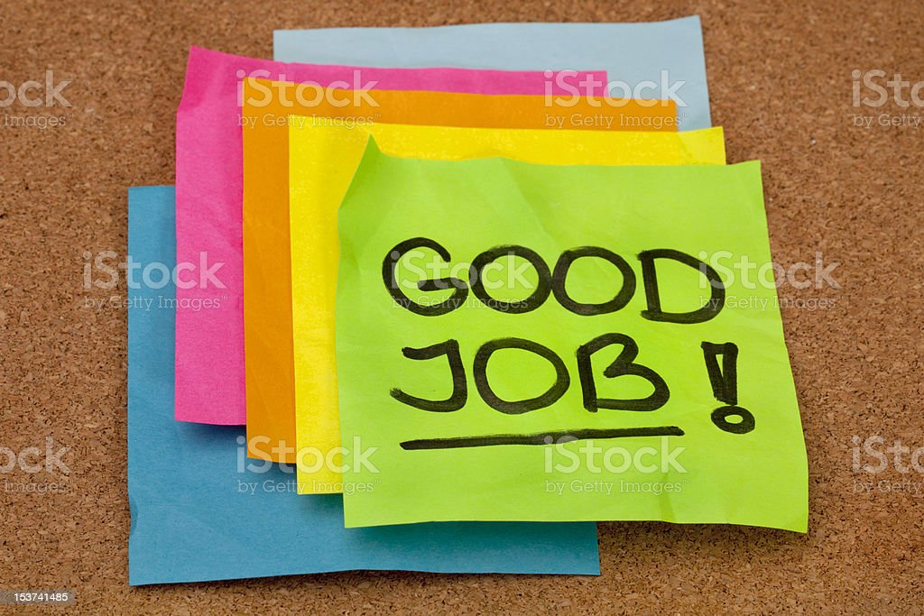 Stacked multicolored notes with Good Job royalty-free stock photo