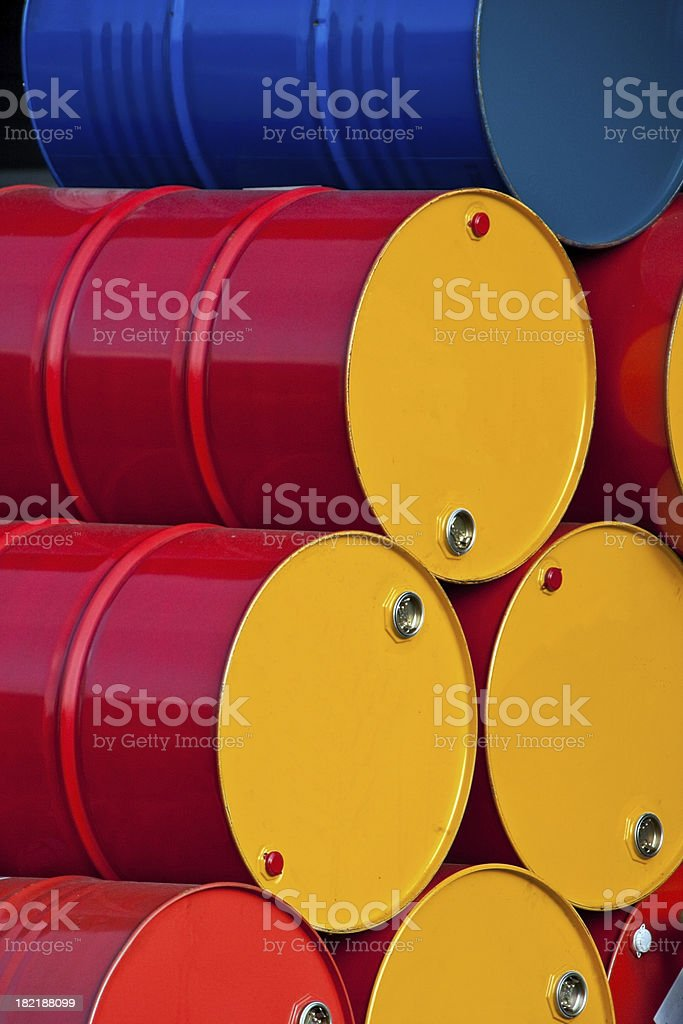 Stacked oil barrels royalty-free stock photo