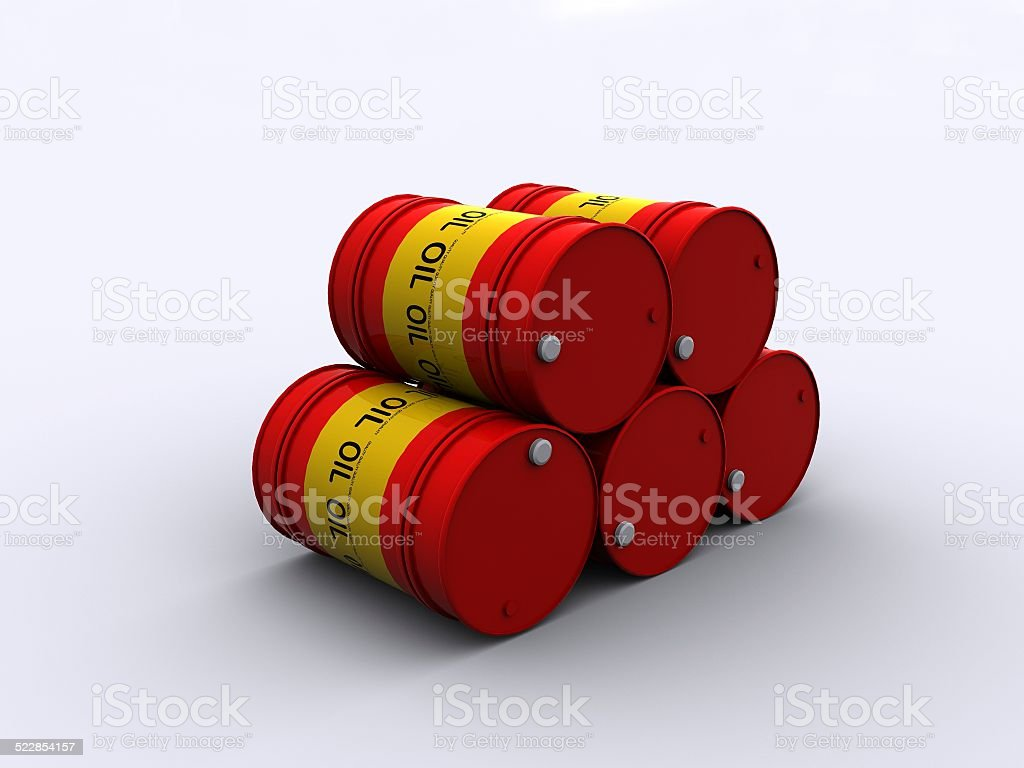 stacked oil drums stock photo